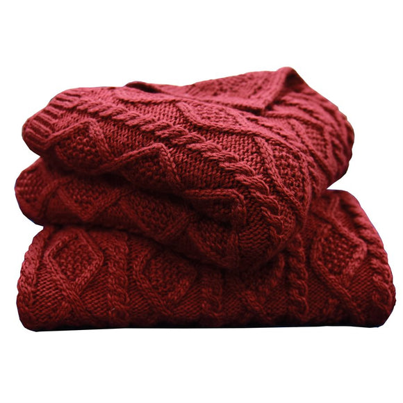 "TR5002-OS-RD - Cable Knit Throw (Red) - 50""x60""  by HiEnd Accents"