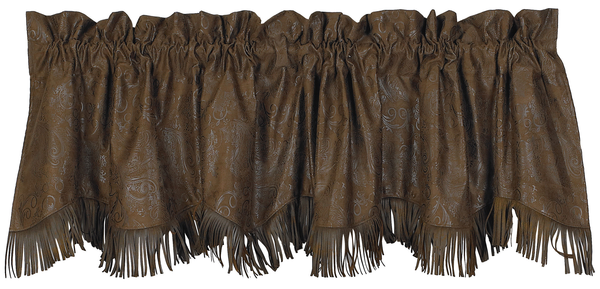 VL1004 - Fringed Tooled Faux Leather Valance - Western Bedding by HiEnd Accents