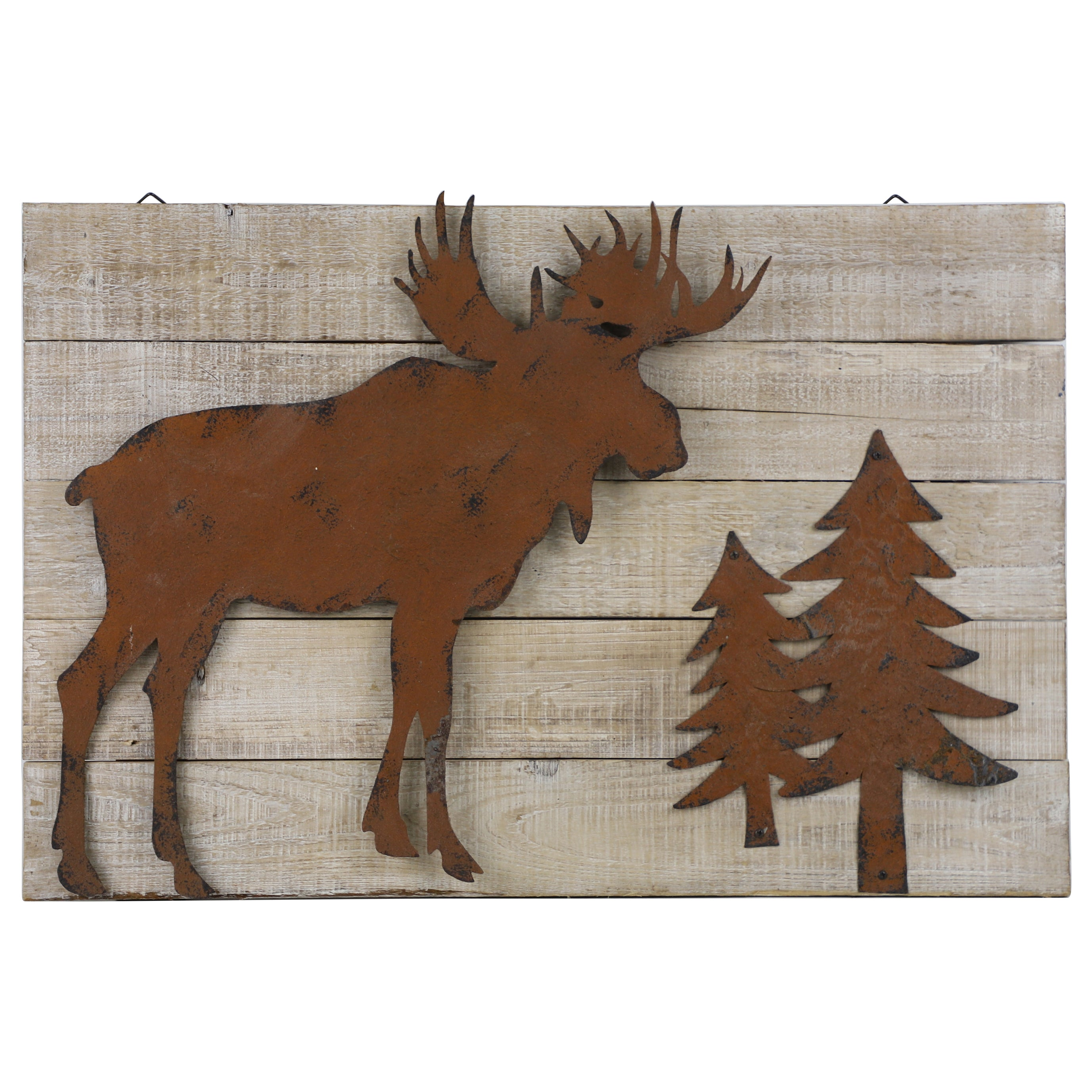 Rustic Wall Decor - Distressed Wood Moose Metal Cutout by HiEnd Accents