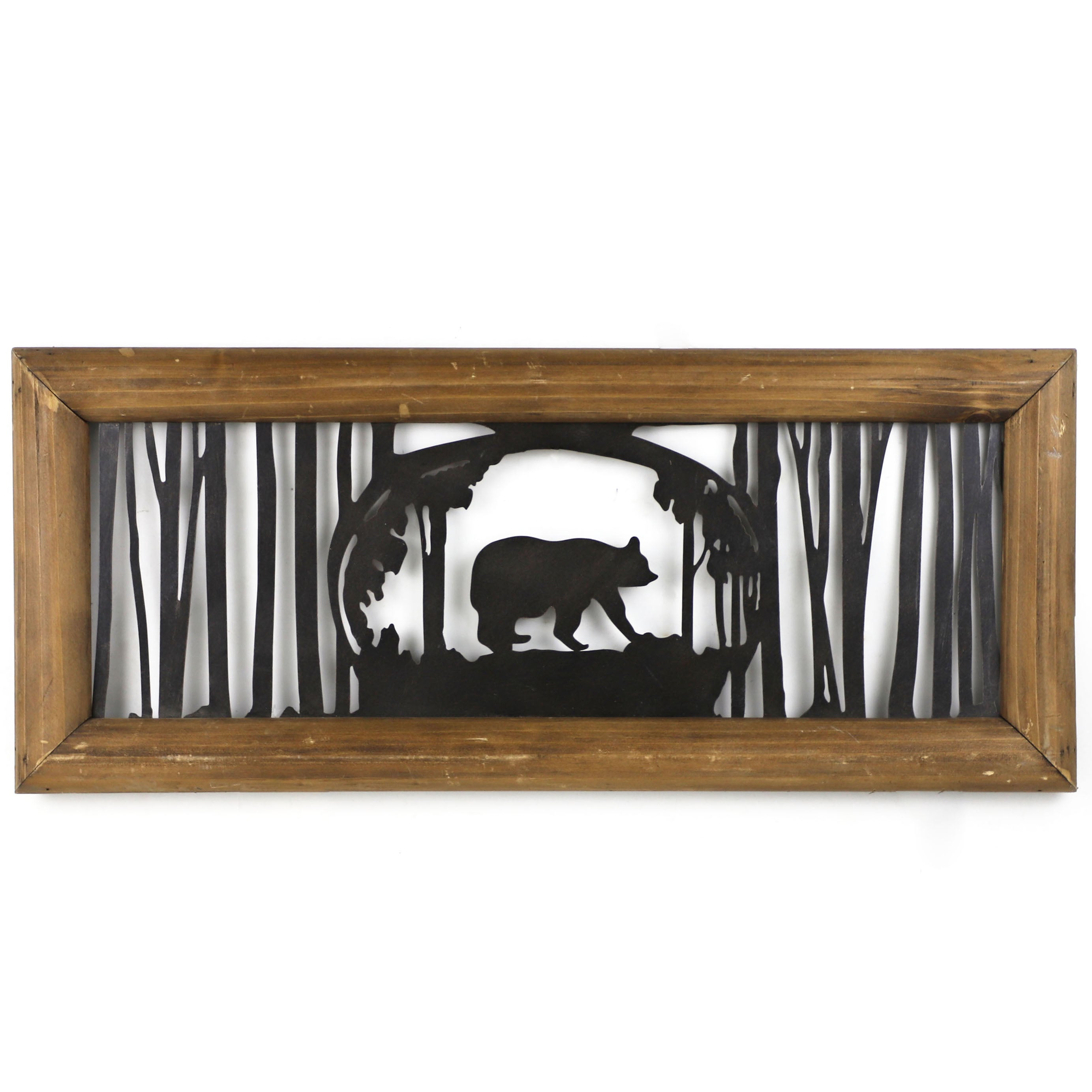 Rustic Wall Decor - Metal Cutout Bear in the Tree Wood Art by HiEnd Accents