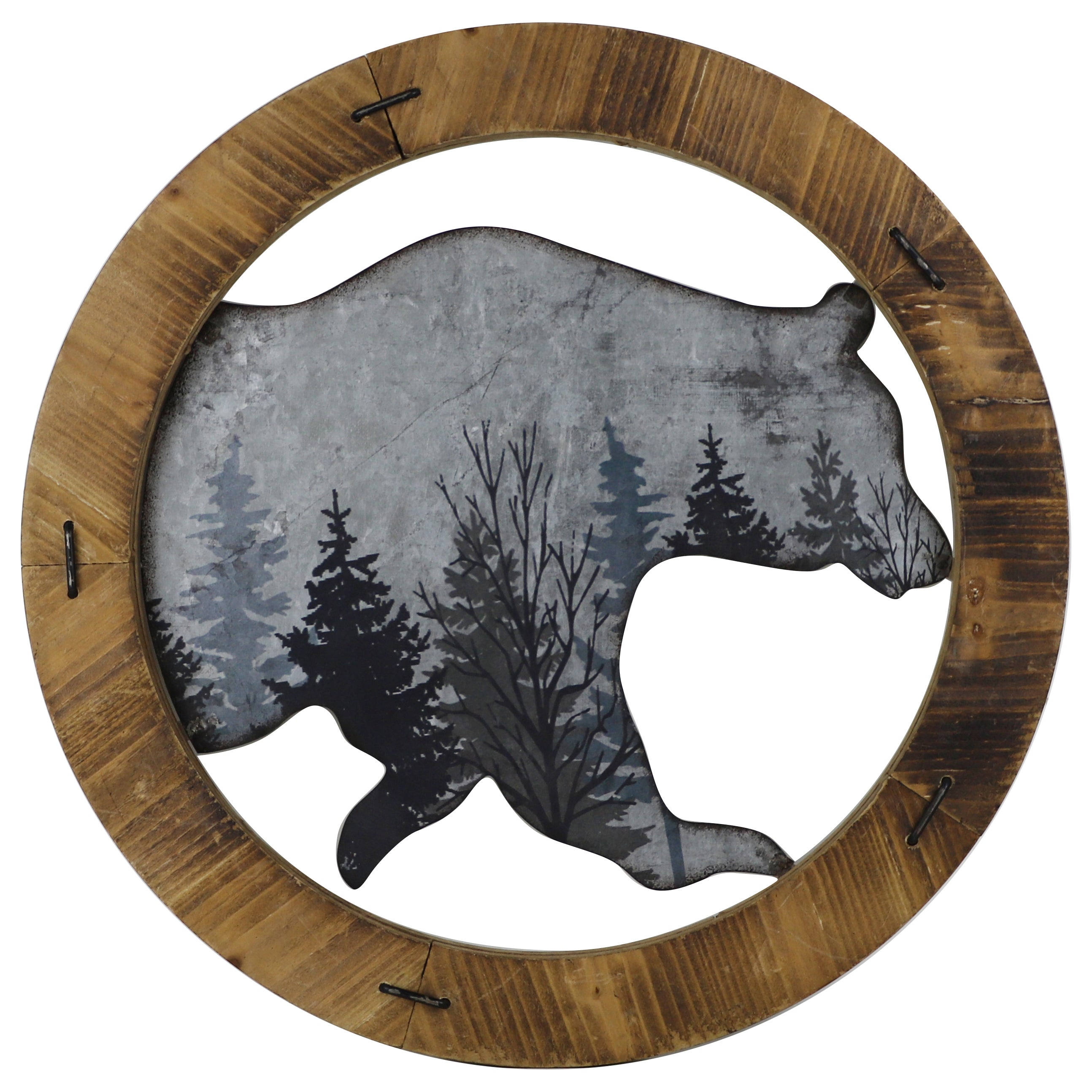 Rustic Wall Decor - Round Wood and Iron Bear Art by HiEnd Accents