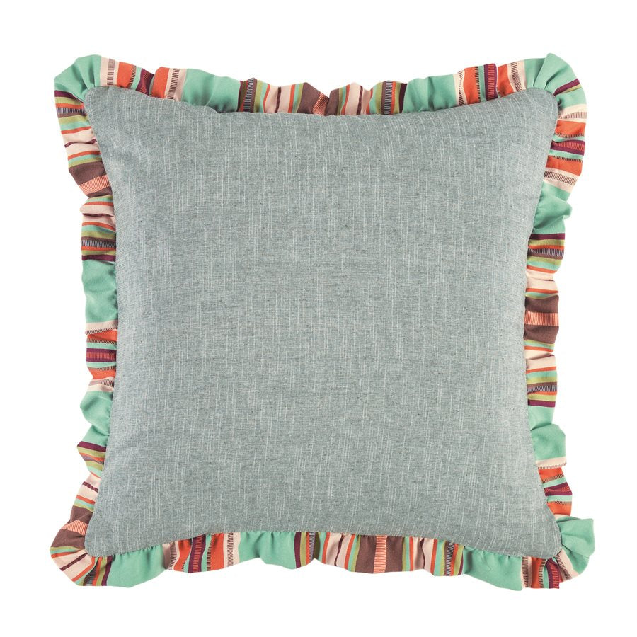 WS1753E2 - Chambray Euro Sham with Serape Stripe Ruffle
