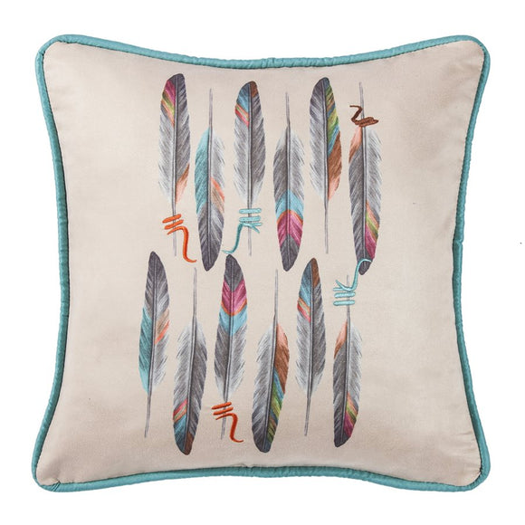 "WS1753P1 - Printed Feather with Embroidered Detail Pillow- 18""x18 by HiEnd Accents"