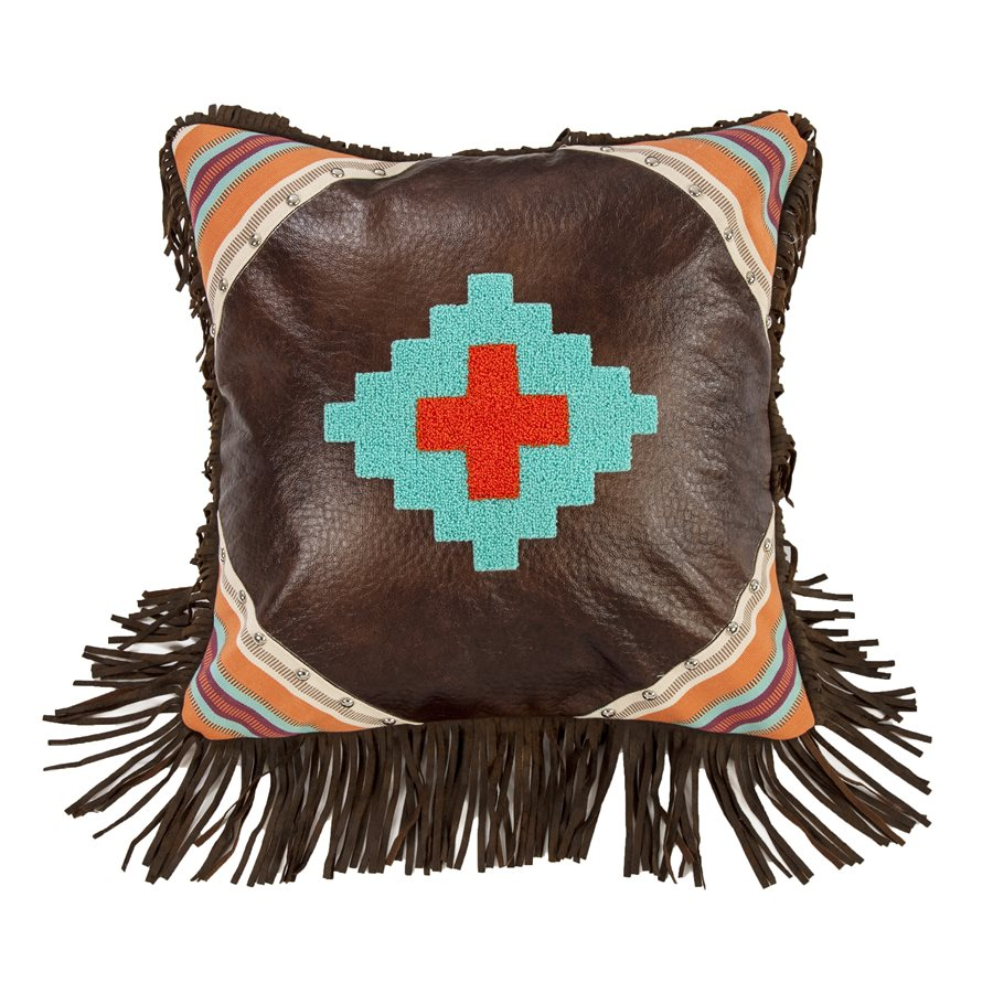 "WS1753P11 - Aztec Textured Loop Embroidered Pillow- 18""x18""   by HiEnd Accents"