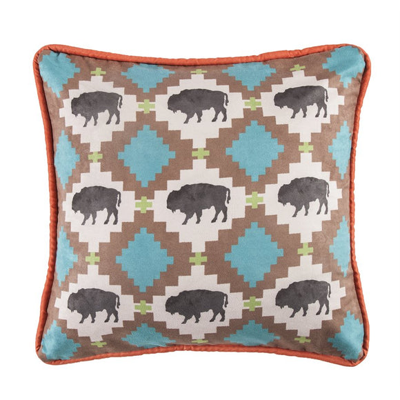 "WS1753P2 - Aztec Buffalo Pillow - 18""x18""   by HiEnd Accents"