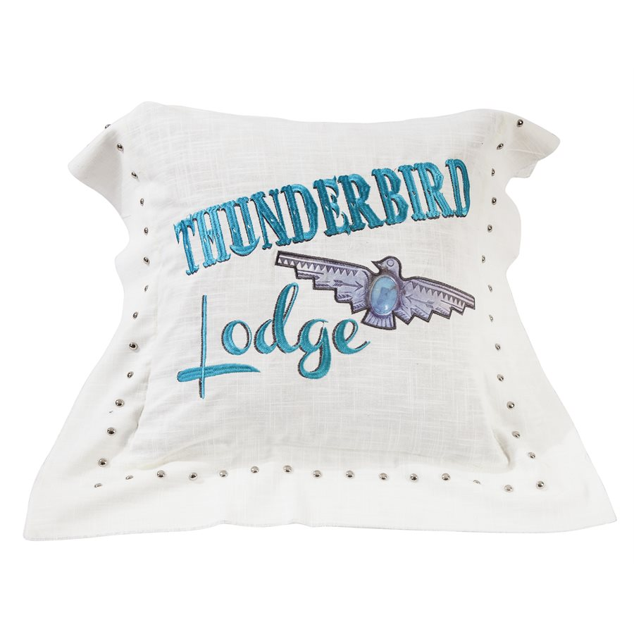 "WS1753P3 - Thunderbird Embroidered Pillow- 18""x18""  by HiEnd Accents"