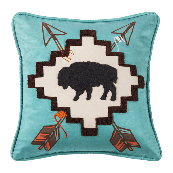 "WS1753P4 - Buffalo Textured Loop Embroidered Pillow- 18""x18""  by HiEnd Accents"