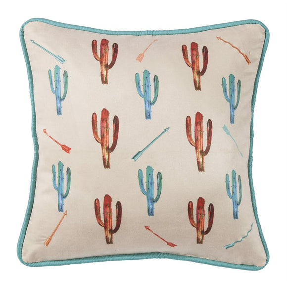 "WS1753P9 - Printed Cactus with Embroidered Detail Pillow- 18""x18"" by HiEnd Accents"