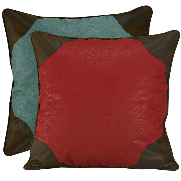 WS4001ES - Red/Turquoise Reversible Euro Sham - Western Bedding by HiEnd Accents