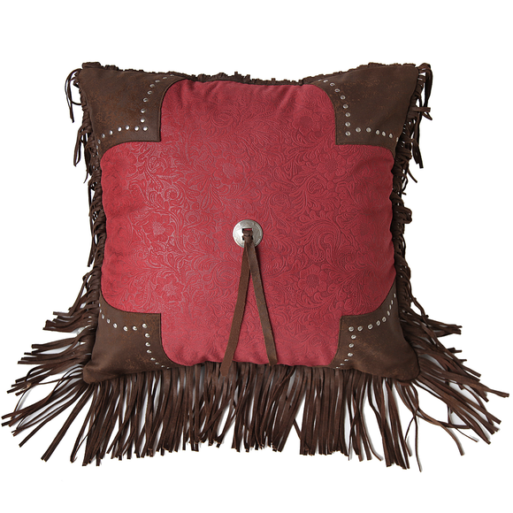 "WS4001P5-OS-RD - Red Scalloped Edge Pillow - 18""x18"" by HiEnd Accents"