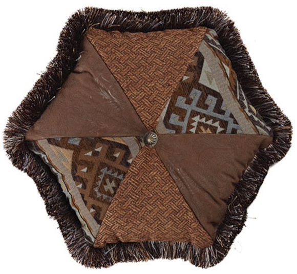 WS4007P1 -Rio Grande Hexagon Pillow - Western Bedding by HiEnd Accents