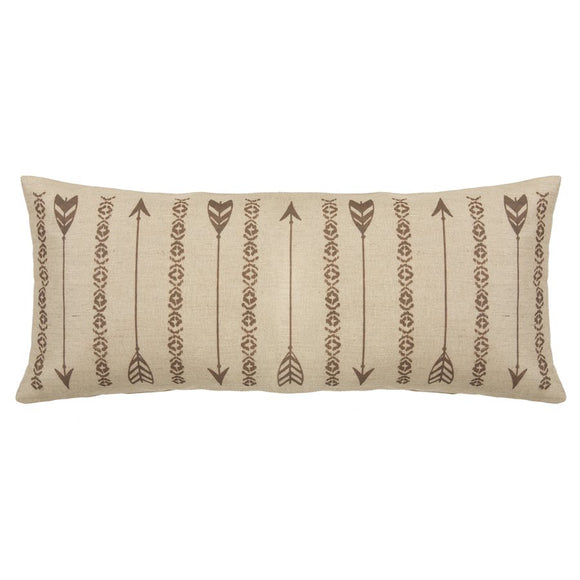 "PL1811 - Burlap Arrow Rectangular Pillow - 35""x 15"" by HiEnd Accents"