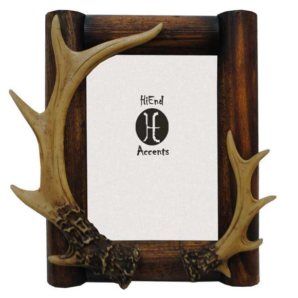 LD1201-80-OC - Antler Wooden Picture Frame (8x10)by HiEnd Accents