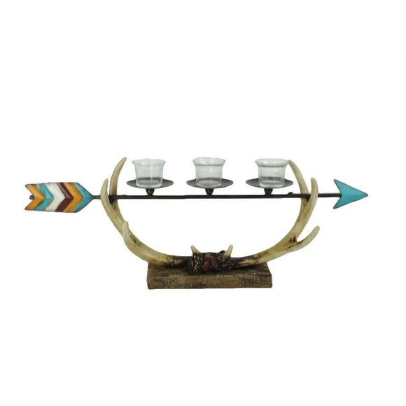 WD3006 - Arrow & Longhorn Antler 3-Votive Candle Holderby HiEnd Accents