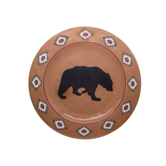 Aztec Bear Rustic 4-PC Melamine Dinner Plate Set
