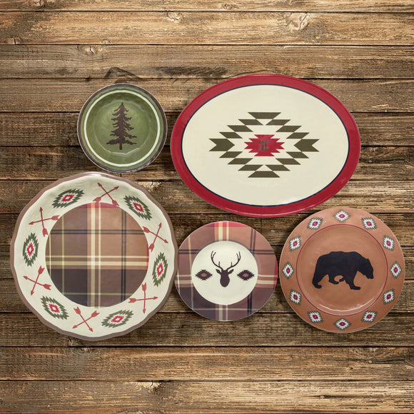 Aztec Bear Rustic 14-PC Melamine Dinnerware Set