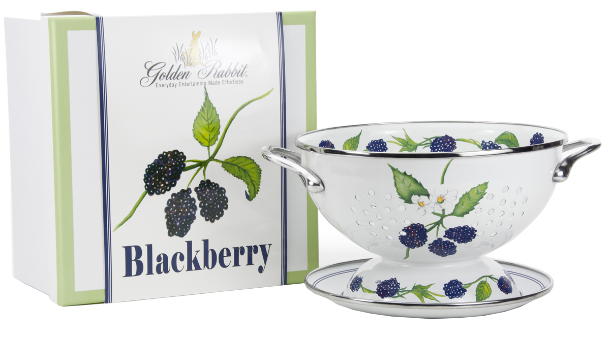 "BB107 - Blackberry Pattern - 1 Quart Colander with 8"" Matching Drain Plate"