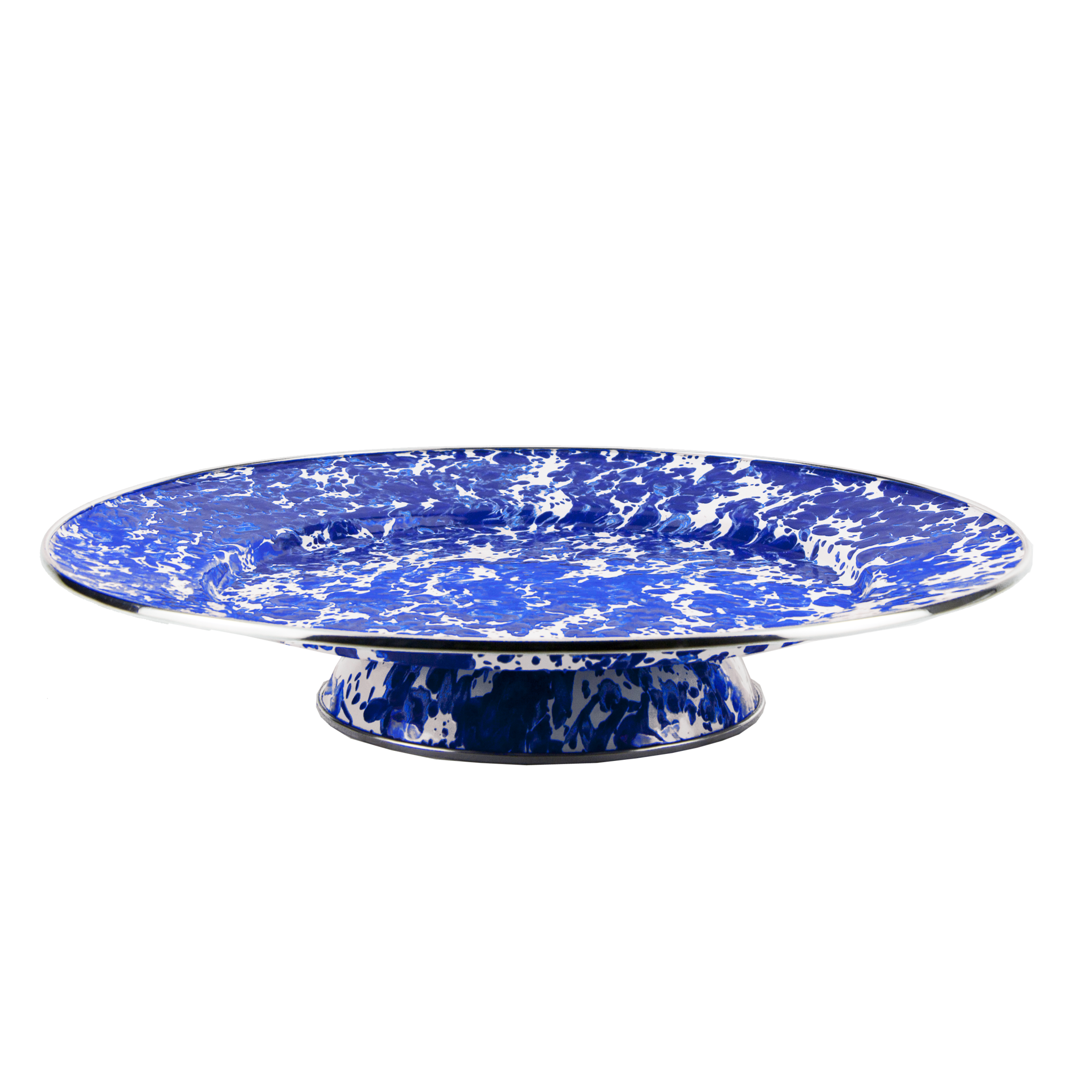 CB76 Cobalt Blue Swirl Cake Plate by Golden Rabbit