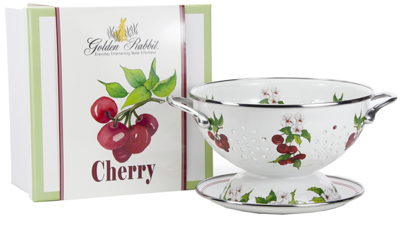 CH107 - Cherry Pattern - 1 Quart Colander with 8