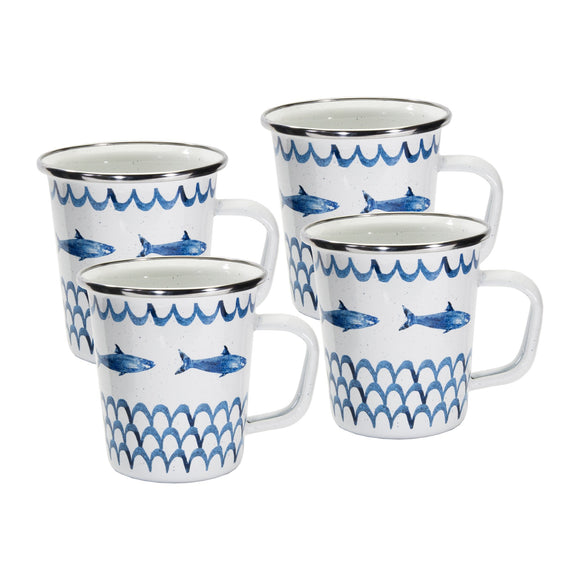 FC66S4 - Set of 4 - Fish Camp - Enamelware - Latte Mugs by Golden Rabbit