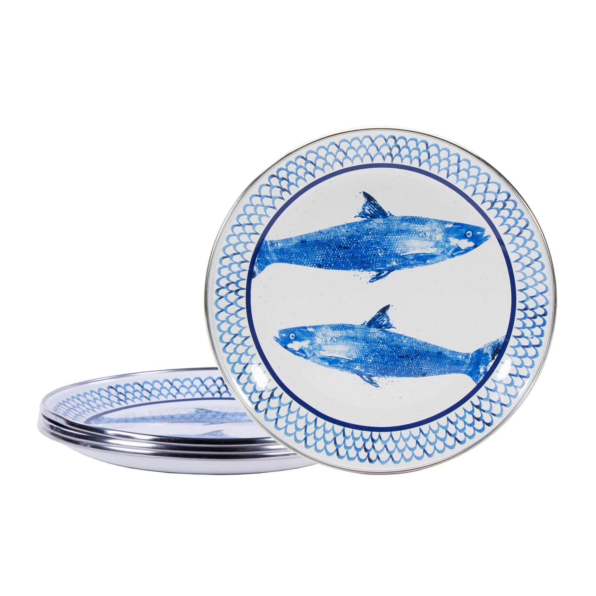 FC69S4 - Set of 4 - Fish Camp Pattern -  Sandwich Plates