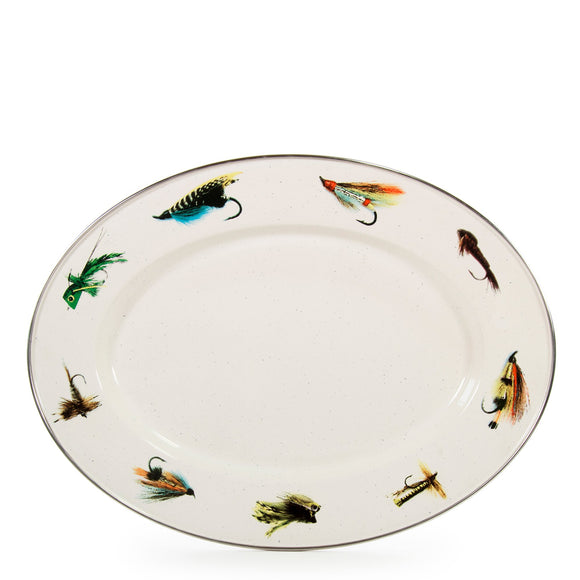 FF06 - Fishing Fly - Enamelware - 12 x 16 Oval Platter by Golden Rabbit