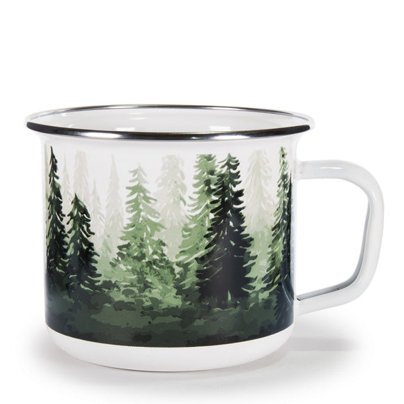 FG28S4 - Set of 4 - Forest Glen - Enamelware - Grande Mugs by Golden Rabbit