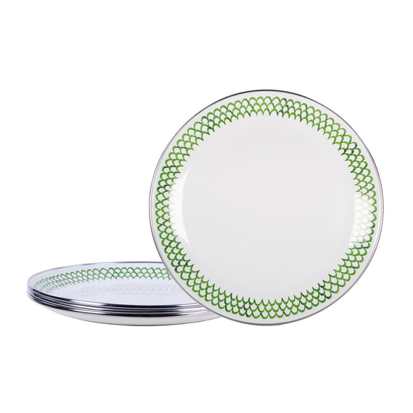 GS56S4 - Set of 4 - Green Scallop Enamelware Dinner Plates