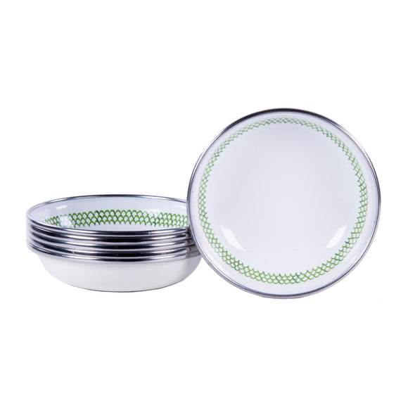 GS59S6 - Set of 6 - Enamelware Green Scallop - Tasting Dishes