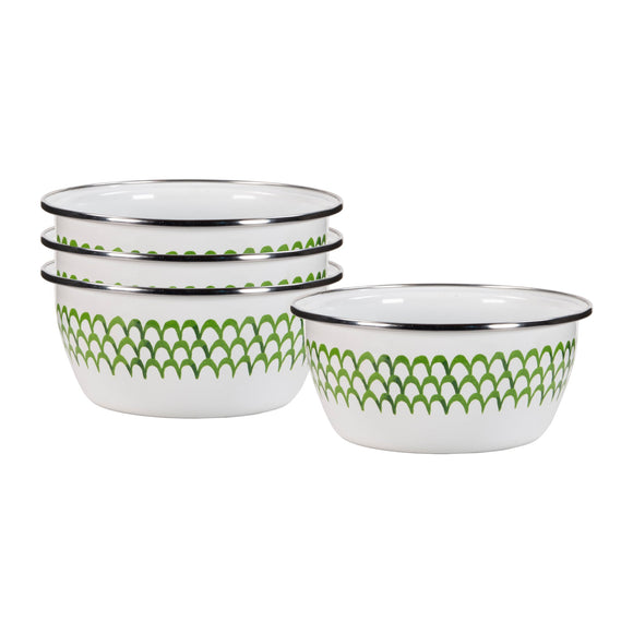 GS61S4 - Set of 4 - Enamelware Green Scallop - Salad Bowls