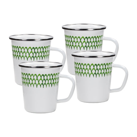 GS66S4 - Set of 4 -  Green Scallop Enamelware Latte Mugs