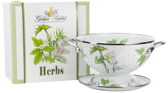 HB107 - Herb Pattern - 1 Quart Colander with 8