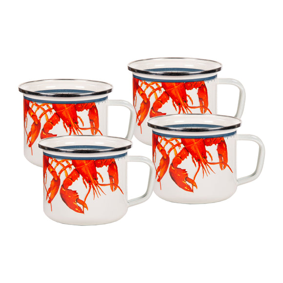 CR28S4 - Set of 4 - Crab House Pattern - Grande Soup Mugs
