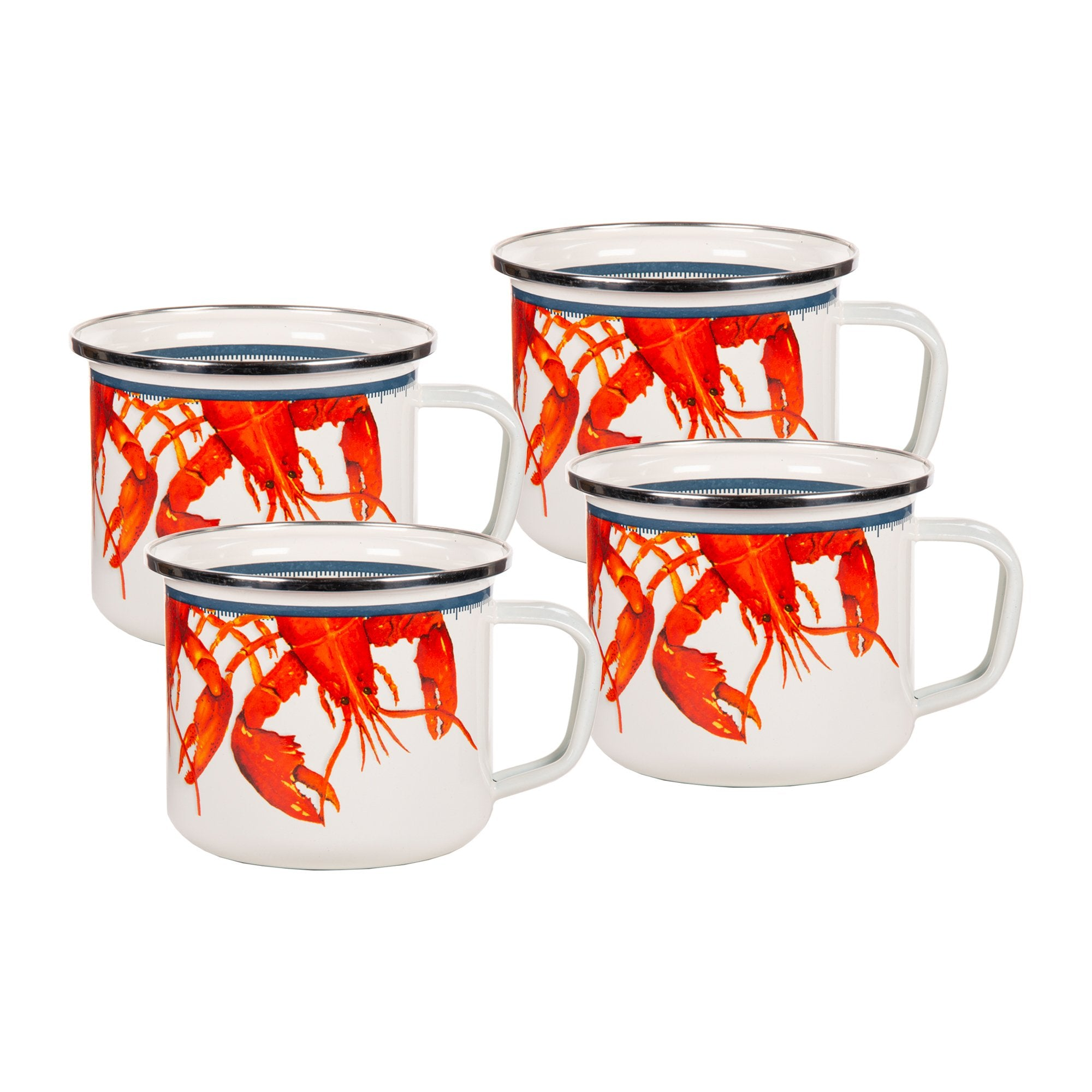 LS28S4- Set of 4 - Lobster - Enamelware - Grande Mugs by Golden Rabbit