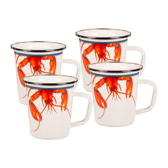 LS66S4 - Set of 4 - Lobster - Enamelware - Latte Mugs by Golden Rabbit