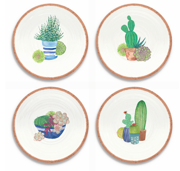 PAN1085MSPRS - Rio - Set of 4 - Melamine Succulents Salad Plates - 8.5