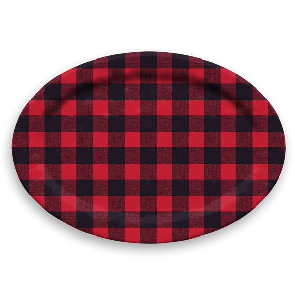 TT20747979 - Vintage Lodge Buffalo Check -  Oval Platter - 19.9