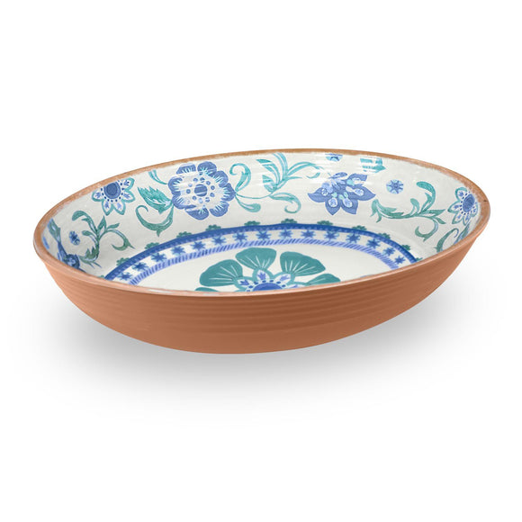 PAN5132TMSTF - Rio - Turquoise - Melamine Floral Oval Serve Bowl - 13.1