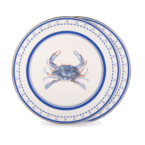 SE26S2 - Set of 2 - Enamelware Blue Crab - Chargers by Golden Rabbit