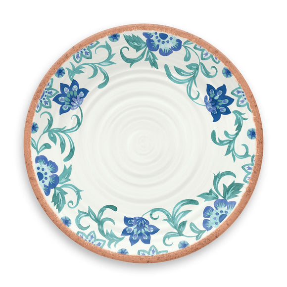 PAN1105MDRTF - Rio - Set of 6 - Melamine Turquoise Floral Dinner Plate - 10.5