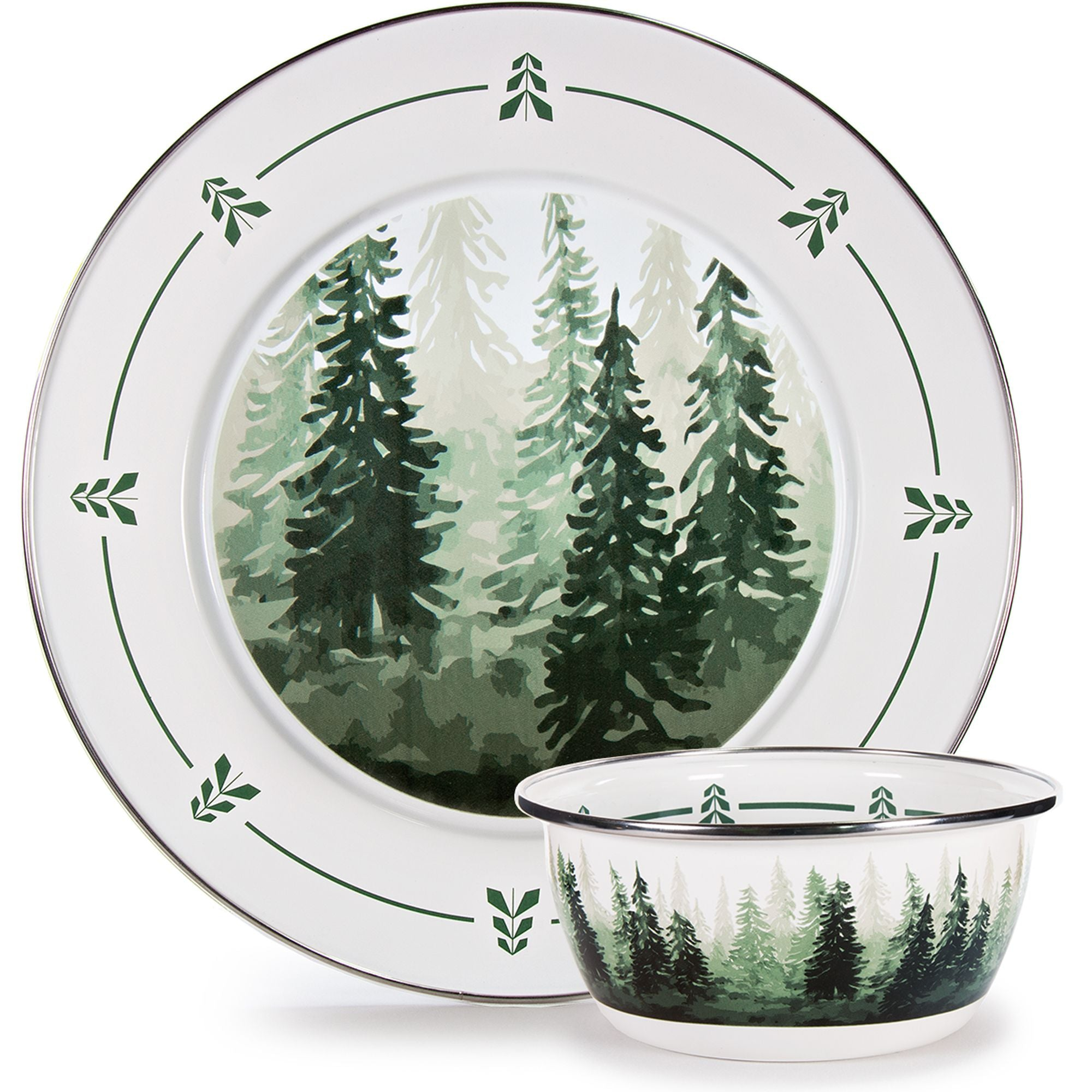 FT65 - Forest Tree Pattern - Enamelware Dip Set