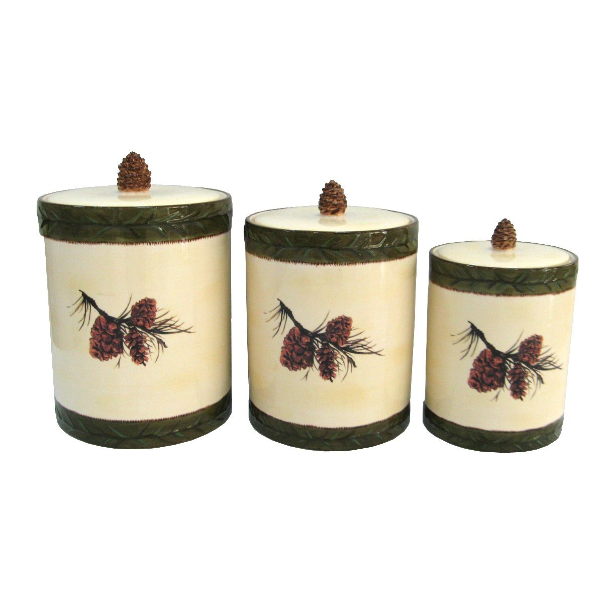 DI1800CS01 - 3 Piece Canister Set- Pine Cone