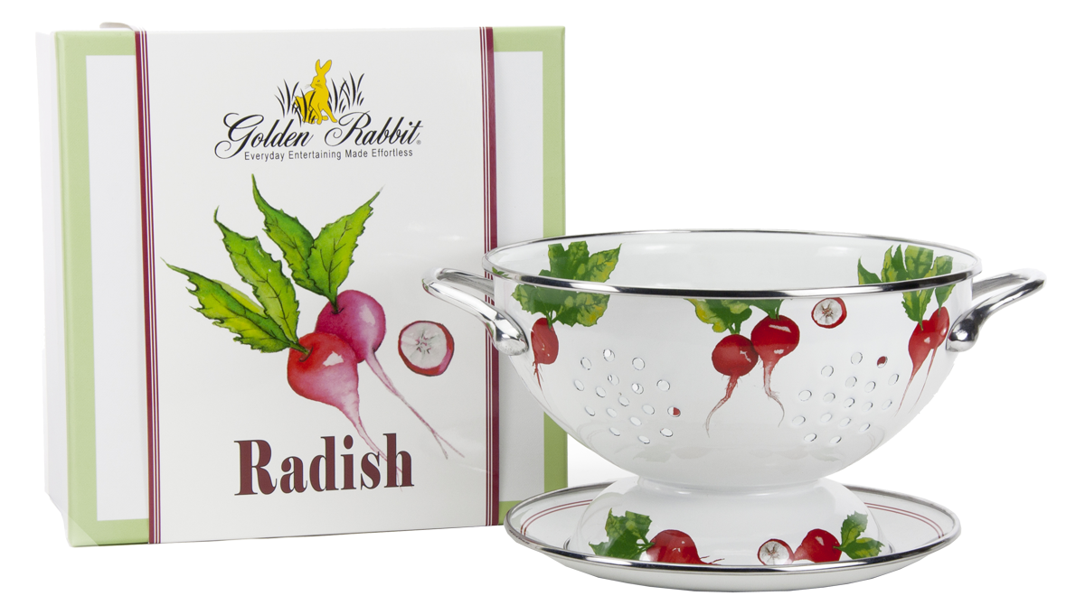 "RA107 - Radish Pattern - 1 Quart Colander with 8"" Matching Drain Plate"