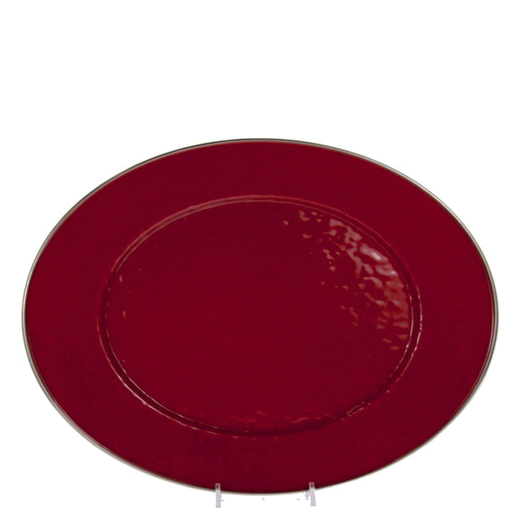 RR06 - Solid Red - Enamelware - 12 x 16 Oval Platter