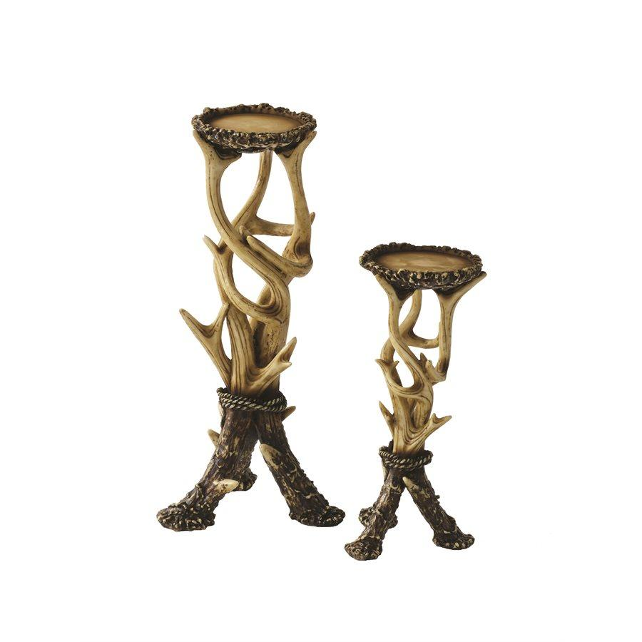 LD6008 - Rustic Antler Pillar Candle Holders (Set of 2)by HiEnd Accents