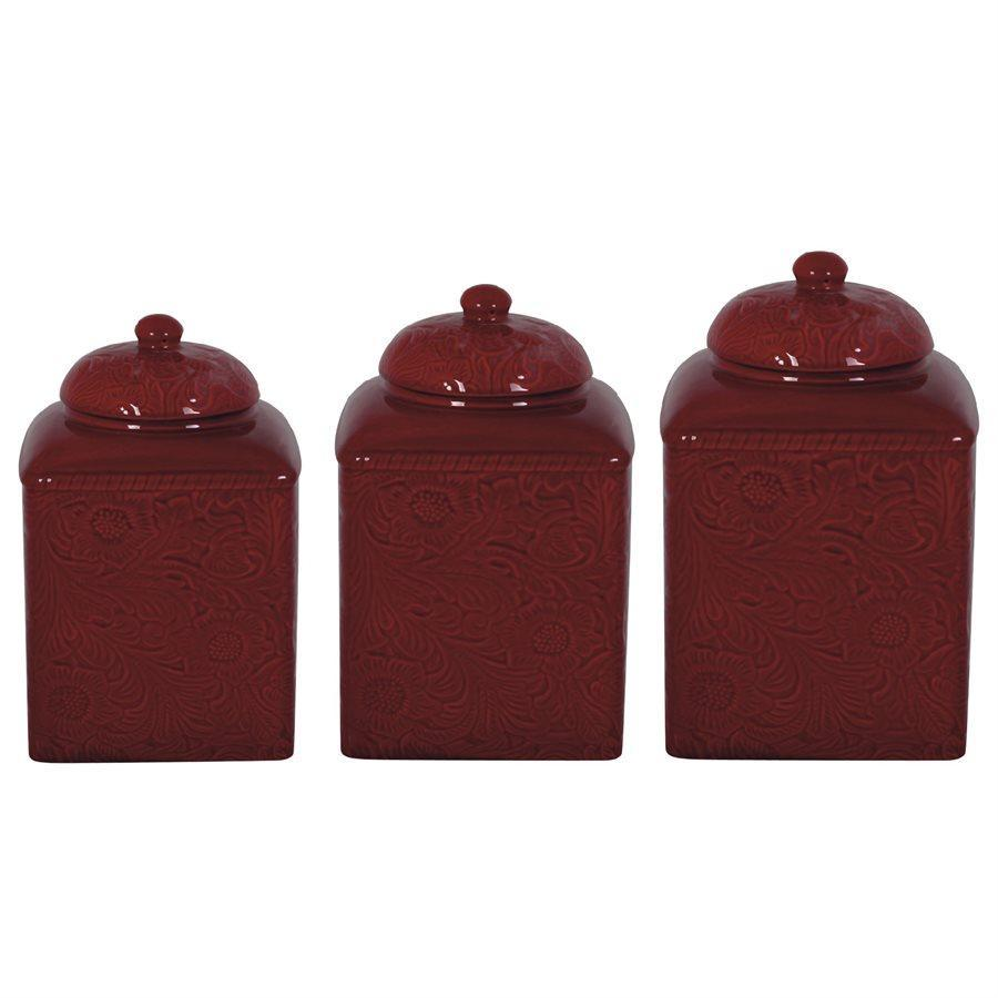 DI4001CS-OS-RD - 3 Piece Canister Set-Savannah Red
