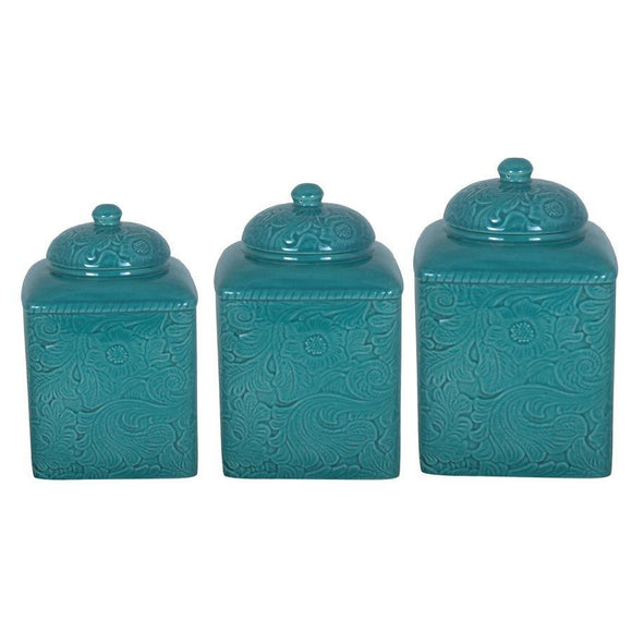 DI4001CS-OS-TQ - 3 Piece Canister Set-Savannah Turquoise