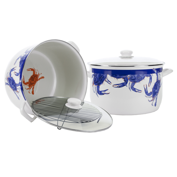 SE75 - Blue Crab Pattern - 18 Quart Stock Pot by Golden Rabbit