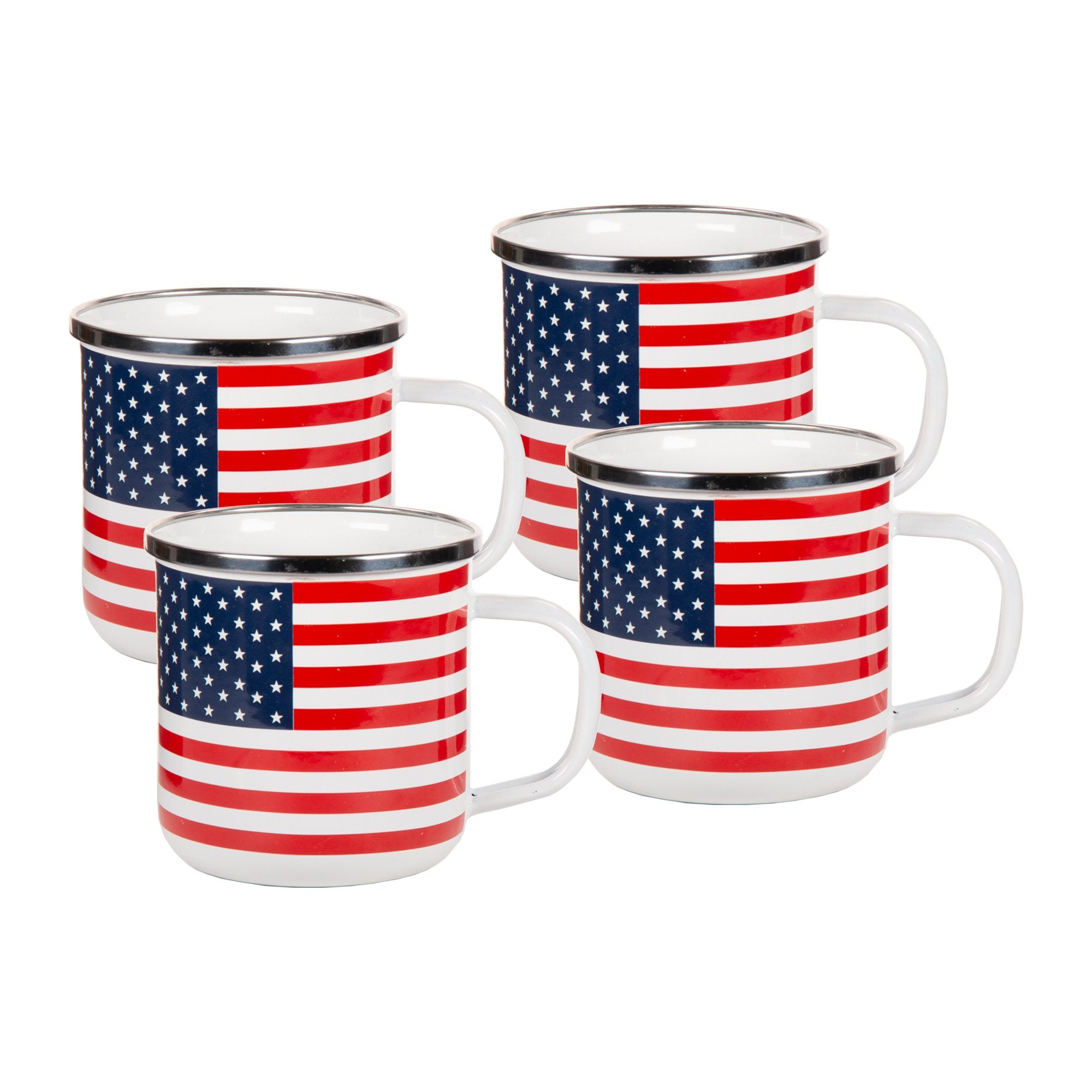 SS05S4 - Set of 4 - Stars and Stripes Enamelware - Coffee Mugs
