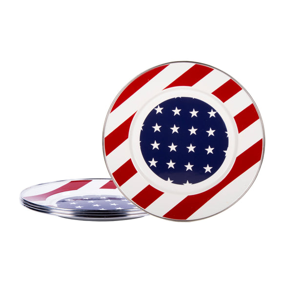 SS07S4 - Set of 4 - Stars and Stripes - Enamelware Dinner Plates